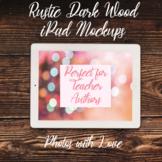 Simple iPad Mockups (Stock Photos) l Dark Rustic Wood