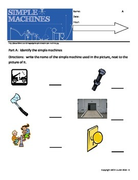 Simple machines bundle- includes differentiated tests, study guides wrkshts