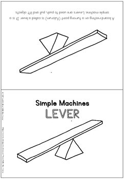 Simple machines - lever - coloring booklet
