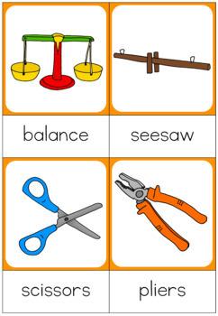Simple machines nomenclature cards