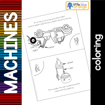 Simple machines - pulley - coloring booklet