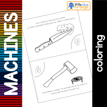 Simple machines - wedge - coloring booklet
