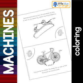 Simple machines - wheels - coloring booklet