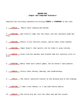 Simple or Compound? Varying Sentence Structure Worksheet & Answer Key