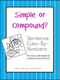 Simple and Compound Sentences color by numbers activity