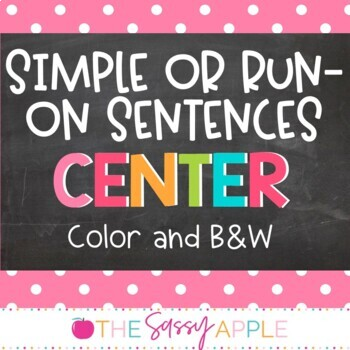 Simple or Run On Sentences Sort: in Color and B&W options