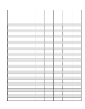 Simple page of 5 columns per name