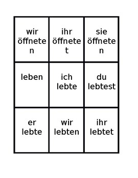 Simple past Preterite Regular verbs in German Spoons game / Uno game
