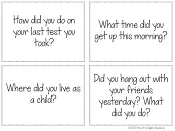 Simple past speaking prompts for ESL