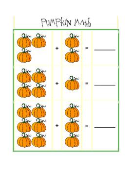 Simple pumpkin math worksheet