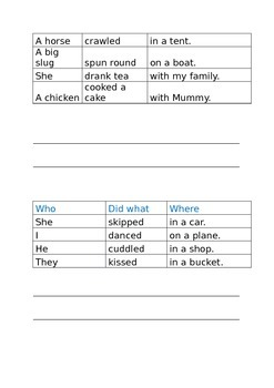 Simple sentence building using a phrase bank simple and fun