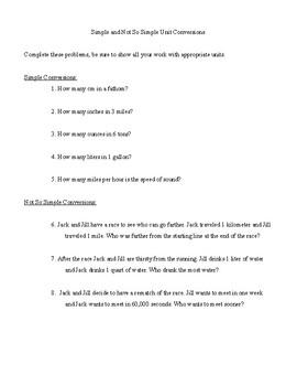 Unit conversion practice problem set