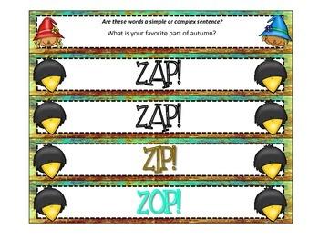 Simple vs. Complex Sentence ZAP! Autumn Style