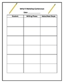 Simple writer's workshop conference tracking form