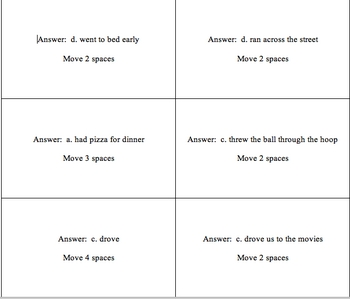 Simple/Complete Predicate Board Game Cards