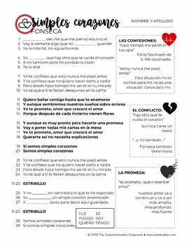 Simples corazones by Fonseca - Song activities