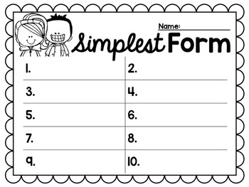 Reducing Fractions to Simplest Form Task Cards for Centers, Scoot, & Test Prep