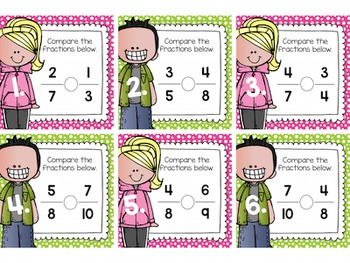 Comparing Fractions Task Cards for Centers, Review, Scoot, & Test Prep