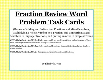 Simplest Form Fraction Word Problems Task Cards