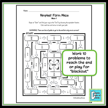 Simplest Form Maze - Easy