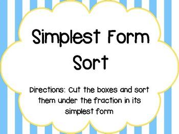 Simplest Form Sort