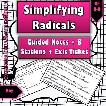 Simplfiying Radicals: Guided Notes + 8 Stations + Exit Ticket