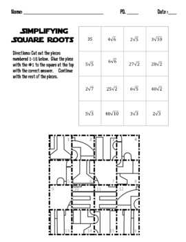 Simplifying Square Roots R2D2 Puzzle (Simplifying Radicals)