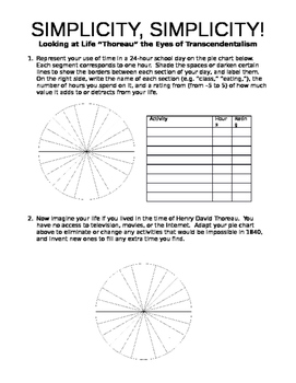 Simplicity Connections Worksheet for Thoreau's Walden