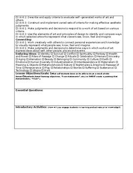 Simplified Art Lesson Plan Template Editable