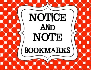Simplified Bookmarks for Notice and Note for Use with Lower Elementary
