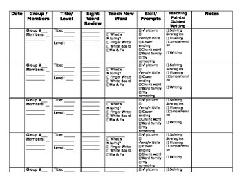 Simplified Guided Reading Lesson Planner