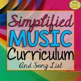 Elementary Music Curriculum Map & Song List, Simplified (M