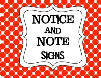 Simplified Signs for Notice and Note for Use with lower elementary