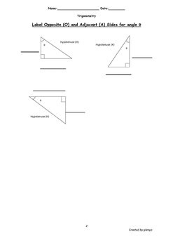 Simplified Trigonometric Ratios Worksheet with answers