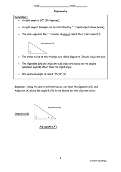 Simplified Trigonometric Ratios Worksheet With Answers By Glenissa