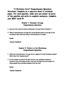 Simplified Version of A Christmas Carol Comprehension Questions
