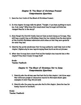 Simplified Version of A Christmas Carol Comprehension Questions | TpT