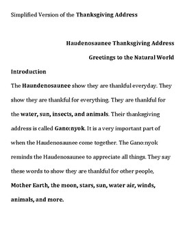 Simplified Version of the Thanksgiving Address