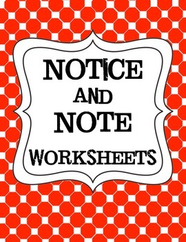 Simplified Worksheets for Notice and Note for Use with Lower Elementary