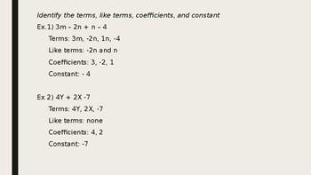 Simplify Algebraic Expressions