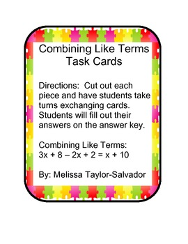 Simplify Algebraic Expressions Combining Like Terms Task Cards