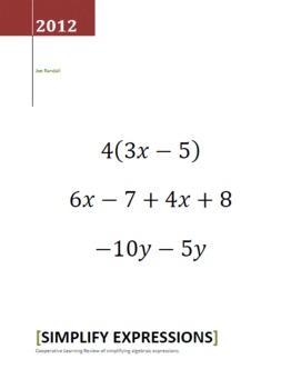 Simplify Algebraic Expressions - Cooperative Learning - Quiz,Quiz,Trade