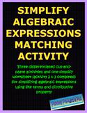Simplify Algebraic Expressions Match Activity-Distance Lea
