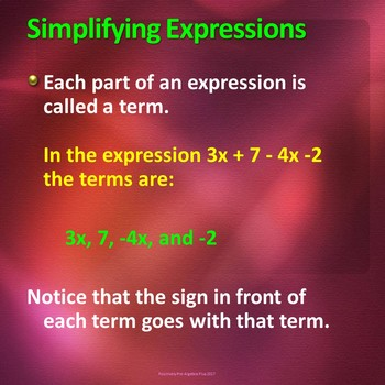 Simplify Algebraic Expressions PowerPoint Lesson