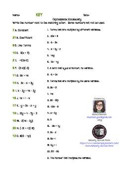 Simplify Algebraic Expressions Worksheet/Quiz