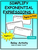 Simplify Exponential Expressions 1 Relay Activity