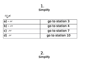 Simplify Exponents Station Maze