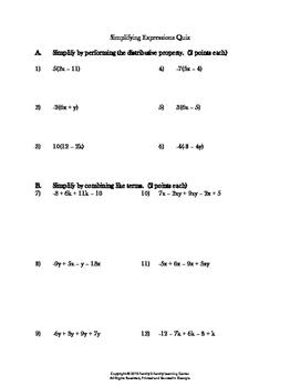 Simplify Expression Quiz