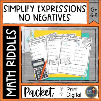Simplify Algebraic Expressions 1 Math with Riddles
