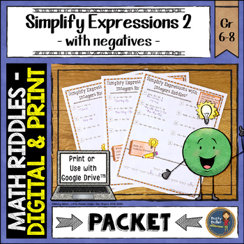 Simplify Algebraic Expressions 2 Math with Riddles